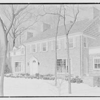 Rodney E. Boone, residence on Elderfield Rd., Manhasset, Long Island. Entrance facade from right