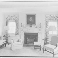 Rufus W. Scott, residence on Via Del Lago, Palm Beach, Florida. Living room, to fireplace