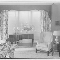 Sam H. Harris, residence at Arabian Ave. and Lakeway, Palm Beach, Florida. Living room picture window, blinds closed