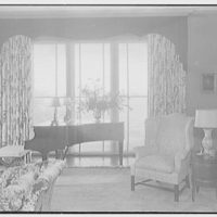Sam H. Harris, residence at Arabian Ave. and Lakeway, Palm Beach, Florida. Living room picture window, blinds open