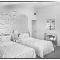Theodore D. Buhl, residence on Island Rd., Palm Beach, Florida. Master bedroom, to bed and fireplace