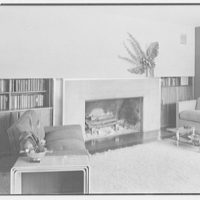 Thomas S. Holden, residence on Tory Hill Rd., Darien, Connecticut. Living room fireplace
