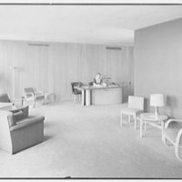 Time & Life Offices, 9 Rockefeller Plaza, New York City. Reception lobby, to reception desk