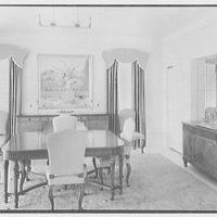 Albert Mills, residence at 5970 N. Bay Rd., Miami Beach, Florida. Dining room
