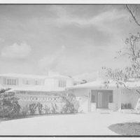 Albert Mills, residence at 5970 N. Bay Rd., Miami Beach, Florida. Entrance facade