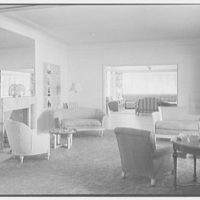 Albert Mills, residence at 5970 N. Bay Rd., Miami Beach, Florida. Living room, to bar room