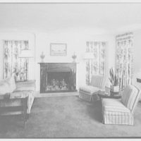 Barthelmy G. Lachelier, residence on Knollwood Drive, Greenwich, Connecticut. Living room, to fireplace