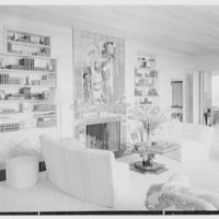 Bertrand L. Taylor, residence in Hobe Sound, Florida. Living room, to fireplace