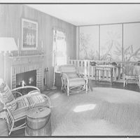Donald D. Williams, residence in Vero Beach, Florida. Living room, to fireplace