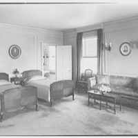 Edwin J. Beinecke, residence in Greenwich, Connecticut. Mr. Beinecke's bedroom, to beds
