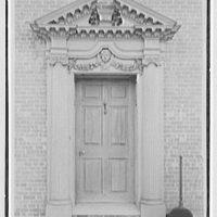 Edwin J. Beinecke, residence on Cliffdale Rd., Greenwich, Connecticut. Entrance facade doorway