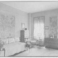 Emma Romeyn, residence at 30 Sutton Pl., New York City. Bedroom, to bed