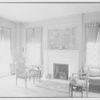 Emma Romeyn, residence at 30 Sutton Pl., New York City. Bedroom, to fireplace