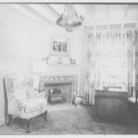 Frank J. Pagliaro, residence on Crow Hill Rd., Mount Kisco, New York. Library, to fireplace