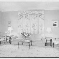 Frank J. Pagliaro, residence on Crow Hill Rd., Mount Kisco, New York. Living room, to sofa