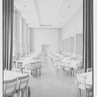 Goucher College, Mary Fisher Hall, Towson, Maryland. Dining room from fireplace