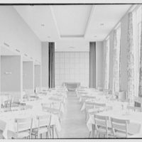 Goucher College, Mary Fisher Hall, Towson, Maryland. Dining room, to fireplace, morning