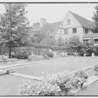 Mr. and Mrs. Joseph S. Graydon, Cobble Court, residence at Drake and Brill Rds., Cincinnati, Ohio. Swimming pool to house I