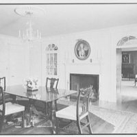 Mr. Frank Audibert, residence in Greenfield Hill, Fairfield, Connecticut. Dining room, to fireplace I, reversed light