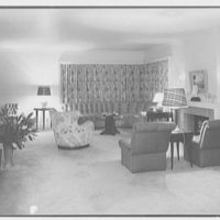 Mr. Samuel Strisik, residence at 195 E. Bay Blvd., Atlantic Beach, New York. Living room, to drapes, night view