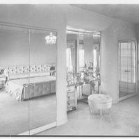 Mr. Samuel Strisik, residence at 195 E. Bay Blvd., Atlantic Beach, New York. Master bedroom, view to dressing table