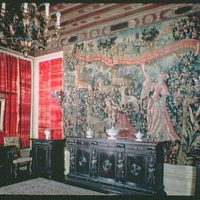 Mrs. Edward Harkness, residence at 1 E. 75th St., New York City. Dining room tapestry I