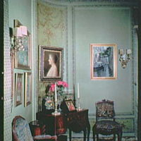 Mrs. Edward Harkness, residence at 1 E. 75th St., New York City. Mrs. Harkness' desk and portrait