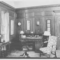 """Mrs. Edward S. Harkness, """"Eolia"""", residence in New London, Connecticut. Mr. Harkness' study, to desk"""