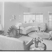 Mrs. Hansen Bang, residence at 176 E. Bay Blvd., Atlantic Beach, New York. Living room, to fireplace