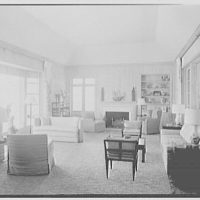 Mrs. Worthington Scranton, residence in Hobe Sound, Florida. Living room, to fireplace