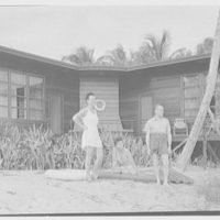 Prince and Princess Alexis Zalstem-Zalessky, residence in Palm Beach, Florida. Miss Knoop, Mr. Wessell and Princess on beach