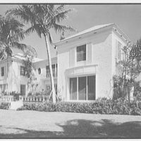 Sidney Vere-Smith, residence at 1440 S. Ocean Blvd., Palm Beach, Florida. Lake facade, general view