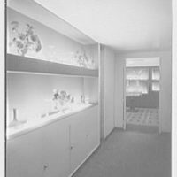 Steuben Glass, business at 718 5th Ave., New York City. Corridor, to antique room