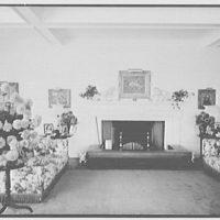 William S. Paley, residence in Manhasset, Long Island. Living room, to fireplace