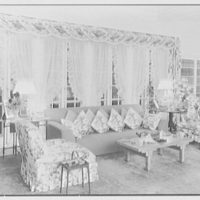 William S. Paley, residence in Manhasset, Long Island, New York. Living room, to large window