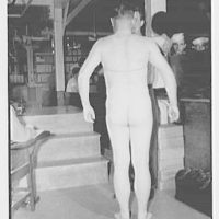Bainbridge Naval Training Station. Induction, measuring for clothes