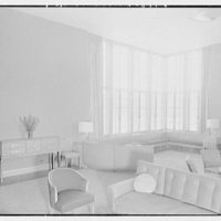 Goucher College, Mary Fisher Hall, Towson, Maryland. Living room from fireplace