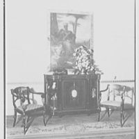 Gypsy Rose Lee, residence at 153 E. 63rd St., New York City. Living room, commode, and painting