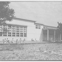 Residence Halls, Arlington Farms, Arlington, Virginia. General view, of building, with figures