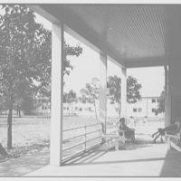 Residence Halls, Arlington Farms, Arlington, Virginia. Porch and terrace, with figures