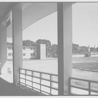 Residence Halls, West Potomac, Washington, D.C. Administration building, from Barton Hall porch