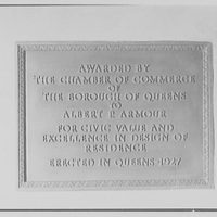 Albert P. Armour, residence at 123 Greenway North, Forest Hills, New York. Bronze plaque