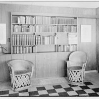 Francis Biddle, residence in Harvey Cedars, New Jersey. Living room, to bookshelves II