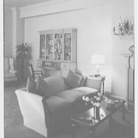 Harvey Newins, residence at 1 Beekman Place, New York City. Living room sofa and secretary