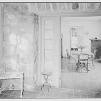 Irving Hartley, residence on Cat Rock Rd., Cos Cob, Connecticut. Dining room from sunroom