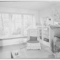 Irving Hartley, residence on Cat Rock Rd., Cos Cob, Connecticut. Living room, to window