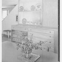 Jesse Oser, residence in Elkins Park, Pennsylvania. Dining room table, to glass shelves