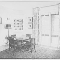 Leon Livingston, Lane's End, residence on Maple Ave., Katonah, New York. Entrance hall, to card table and cabinet