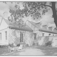 Lewis Stuyvesant Chanler, Jr., residence in Rhinebeck, New York. Entrance facade, from court