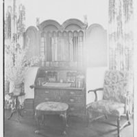 Mr. and Mrs. Camille Dreyfus, residence at Fenimore Rd. and Cornell St., Mamaroneck, New York. Living room, to desk